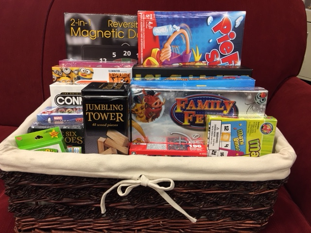 Family Game Night Raffle Basket 9 Items 2 In 1 Reversible Magnetic Dart Board Lets Go Fishing 101 Collection Of Classic Games