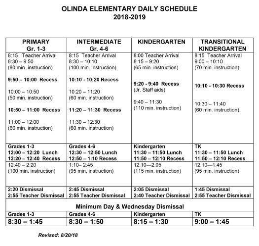 bell schedule 2018-19